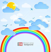 Sky background with rainbow. Vector — Stock Vector