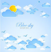 Good weather. Blue sky with clouds. Vector — Stock Vector