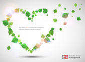 Heart made from leaves — Stock Vector