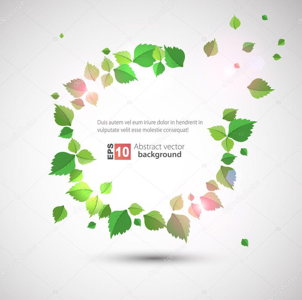 轮架与新鲜绿色的树叶.10 eps — 矢量图片作者 krulua