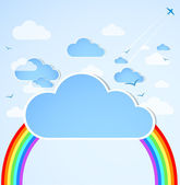 Good weather. Blue sky with clouds. — Stock Vector