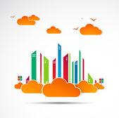Sky-scraper. City theme background. Autumn Vector — Stock Vector