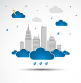 Sky-scraper. City theme background. Bad weather — Stock Vector