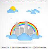 Sky-scraper. City theme background.Good weather — Stock Vector