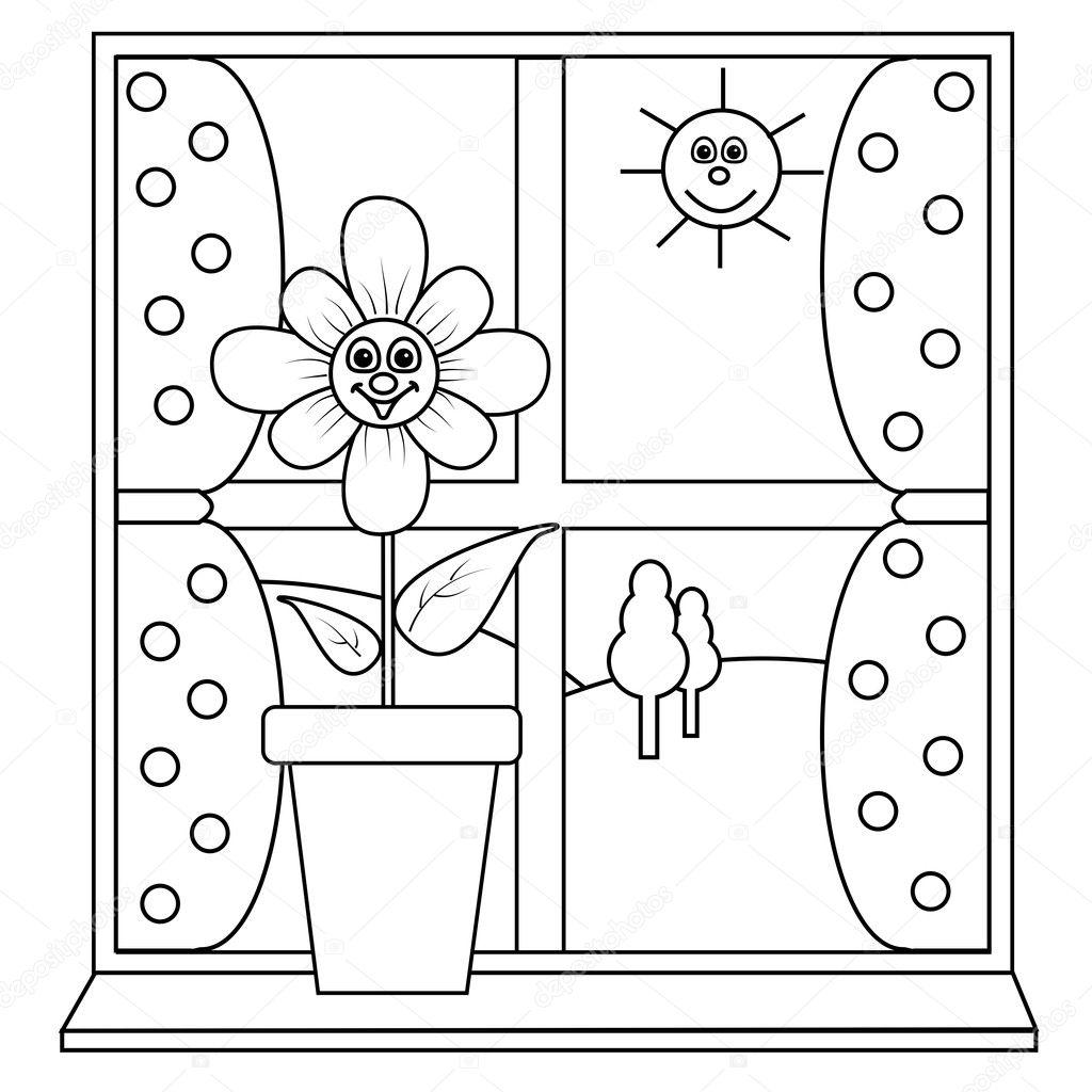 Раскраска окна для детей