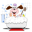 Stock Vector: Cartoon dog in the bathtub