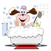 Cartoon dog in the bathtub — Stock Vector