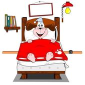 A cartoon dog lying in bed — Vetorial Stock