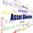 Asset allocation word cloud - Stock Photo
