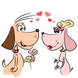 Stock Vector: Cartoon dogs in love