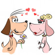 Cartoon dogs in love — Stock Vector