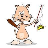 マウスの狩猟漫画猫 — ストックベクタ