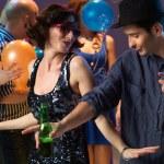 Sexy couple dancing, flirting in night club — Stock Photo