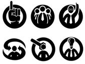 Símbolos de opinión, decisión o consejo expertos — Vector de stock