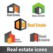 Real-estate-icone — Vettoriale Stock