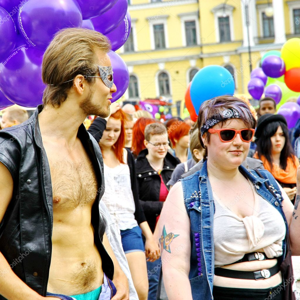 HELSINKI, FINLAND - JUNE 30: Unidentified take part in the annual Helsinki Pride gay parade in Helsinki, Finland on June 30, 2012. — Stock Photo #11422750