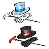 Bastón y sombrero guantes — Vector de stock