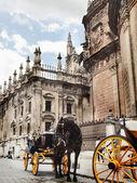 Kathedraal van Sevilla met carrige paard, Spanje — Stockfoto
