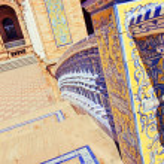 Famous Plaza de Espana ceramics, Sevilla, Spain. Old landmark. — Stock Photo