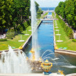 Famous Samson and the Lion fountain in Peterhof Grand Cascade, S — Stock Photo #11649370