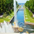Famous Samson and the Lion fountain in Peterhof Grand Cascade, S — Stock Photo