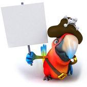 Papoušek a plakety — Stock fotografie