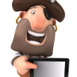 Pirate and tablet pc — Stock Photo