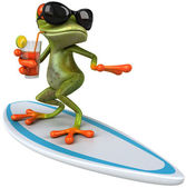 Frog surfing — Stockfoto