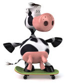 Cute cow skating — Stock Photo