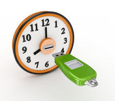 Flash memory and orange clock. — Stock Photo