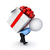 .3d small person pushing a gift box — Stock Photo