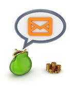 Green purse, gold coins and envelope sign. — Stock Photo