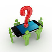 3d small , mobile phone and query symbol. — Stock Photo