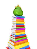 Zelená kabelka na barevné knihy. — Stock fotografie