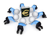 3d small around the book with euro symbol. — Stock Photo