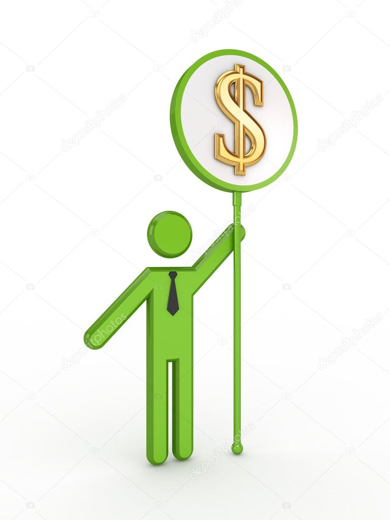 3d small with a dollar sign.Isolated on white background.3d rendered. — Stock Photo #10978756