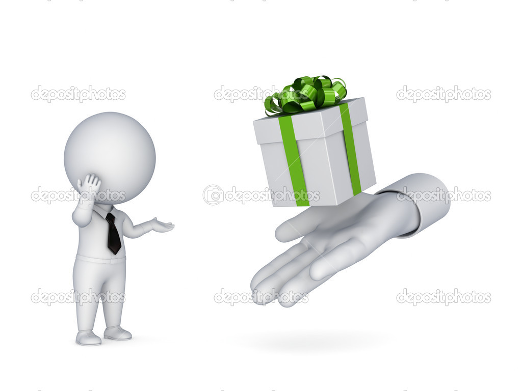 3d small person looking for a gift box.Isolated on white background. — Stock Photo #10979082