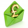 Pound sterling sign with a green envelope. - Stock Photo