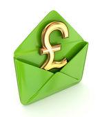 знак фунта стерлингов с зеленый конверт. — Стоковое фото