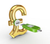 USB flash memory and pound sterling sign. — Stock Photo