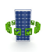 Green tick marks around solar battery. — Foto Stock