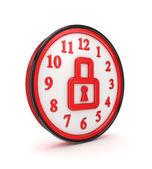 Icône d'un verrou sur une montre rouge. — Photo