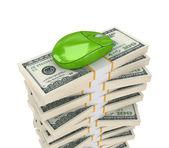 Stor stack dollar och pc mus. — Stockfoto