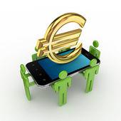 3d-kleine, mobiele telefoon en euro tekenen. — Stockfoto