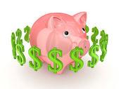 Dollar signs around pink piggy bank. — Stock Photo