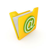 Yellow folder with a green AT symbol. — Stock Photo