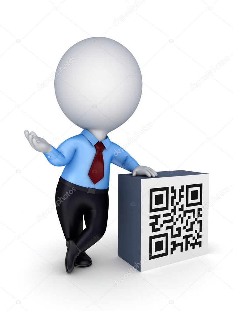 3d small person and QR code.isolated on white background.  Stock Photo #11022733