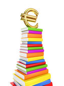 Euro sign on a large pack of books. — Stock Photo