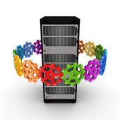 Colorful gears around server. — Stock Photo