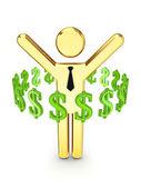 Dollarzeichen um 3d kleine person. — Stockfoto